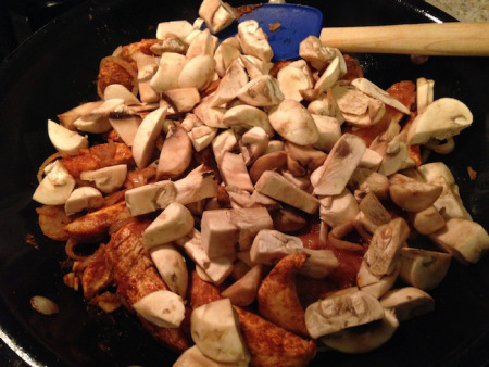 cooking chicken with mushroom