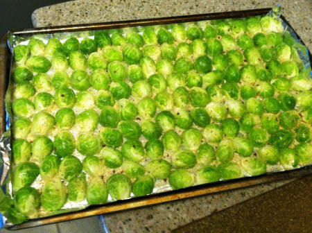 raw brussels sprouts on tray